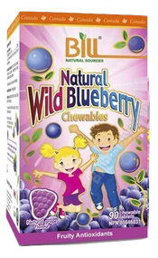 Bill Natural Sources Natural Wild Blueberry 700mg 90 Chewable Tablets(Bill Natural Sources 野生蓝莓护眼7000毫克 90咀嚼片)