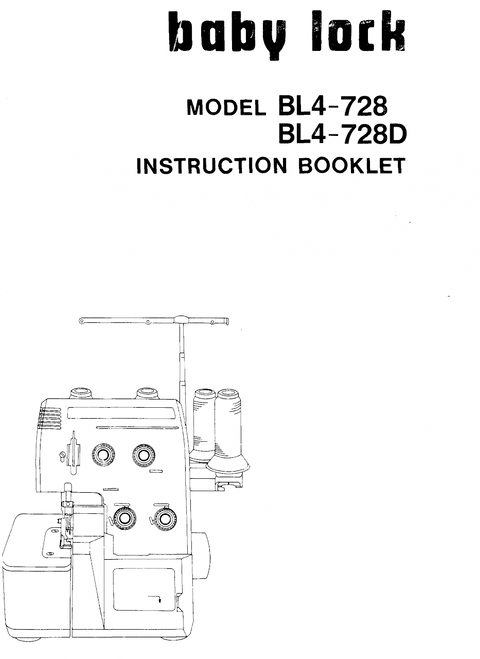 BabyLock Model BL4-728 BL4-728D Overlocker PDF Instruction