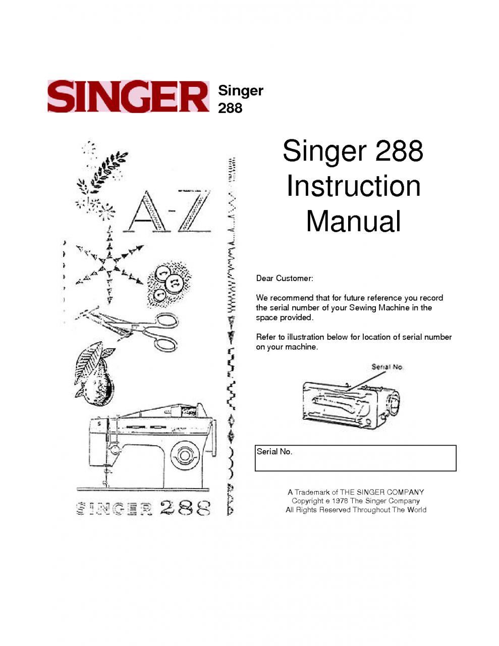 Singer Singer 288 instruction manual Sewing Machine PDF