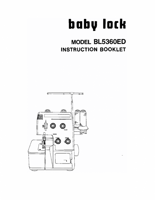 Baby Lock BL5360ED Owners Manual Instruction Manual PDF Download