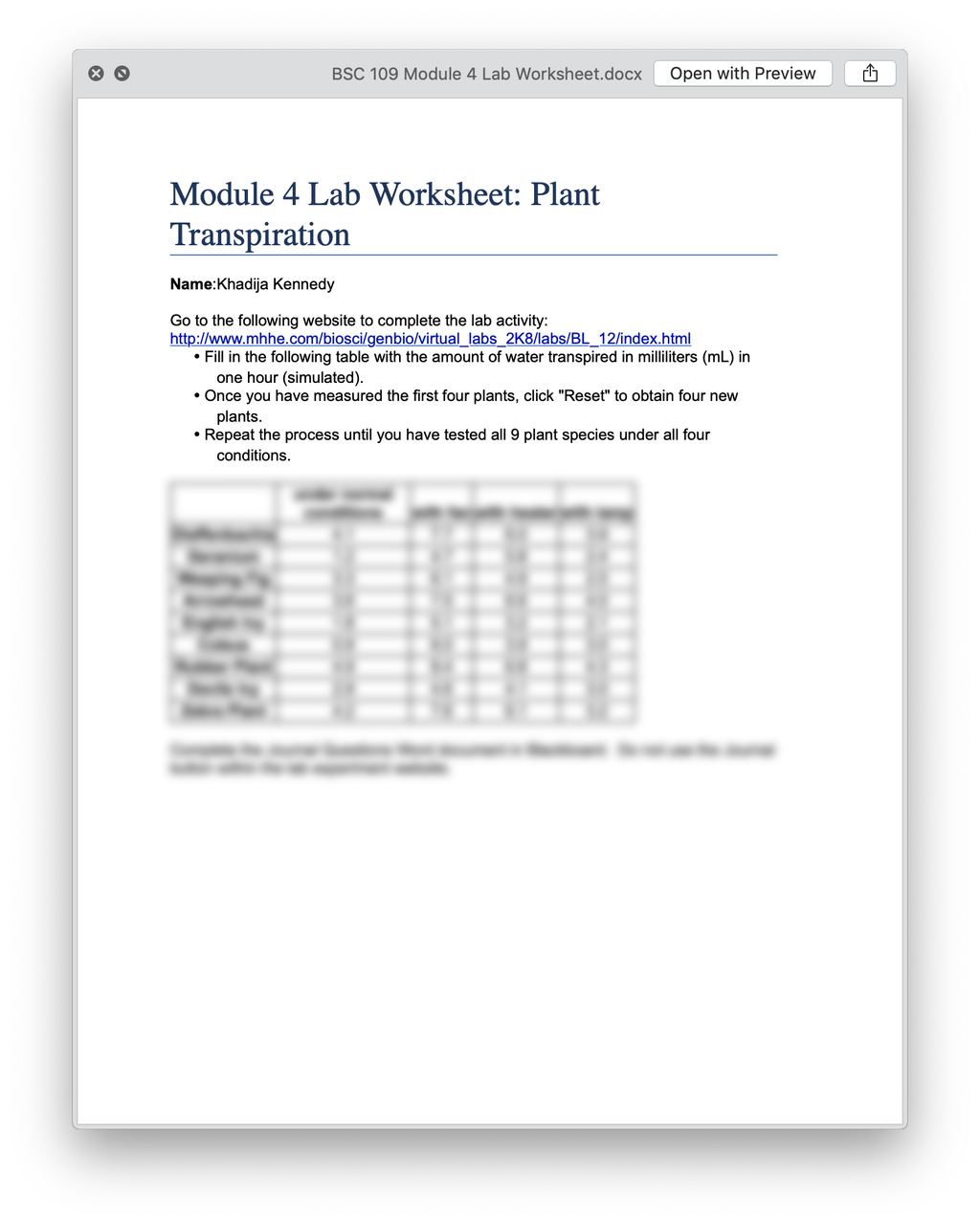 BSC 109 Module 4 Lab Worksheet Plant Transpiration (Alabama)