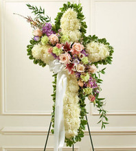funeral cross of flowers