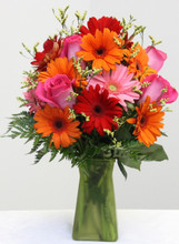 gerber daisies and roses