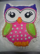 White Owl cake with Buttercream Icing and has 36 servings