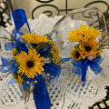 Viking Flowers (look like miniture Sunflowers)  Wristlet and Boutineer