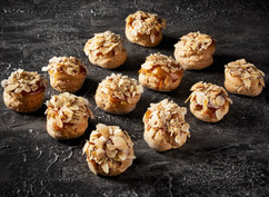 Toffee almond profiteroles
