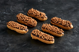Mini salted caramel eclairs