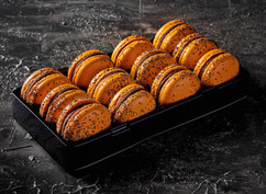Orange poppy macarons