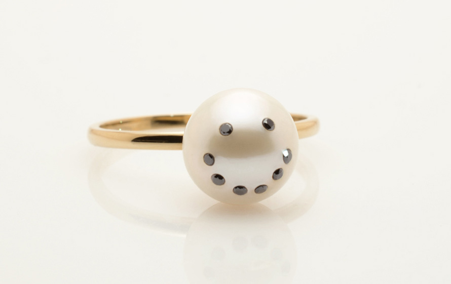 Best selling Cultured Freshwater Pearl Ring with Smiley Emoji Diamond Pave and 14k gold band by jewelry designer Nektar De Stagni 8-9-mm-size-5-6-7. As seen in the New York Times.
