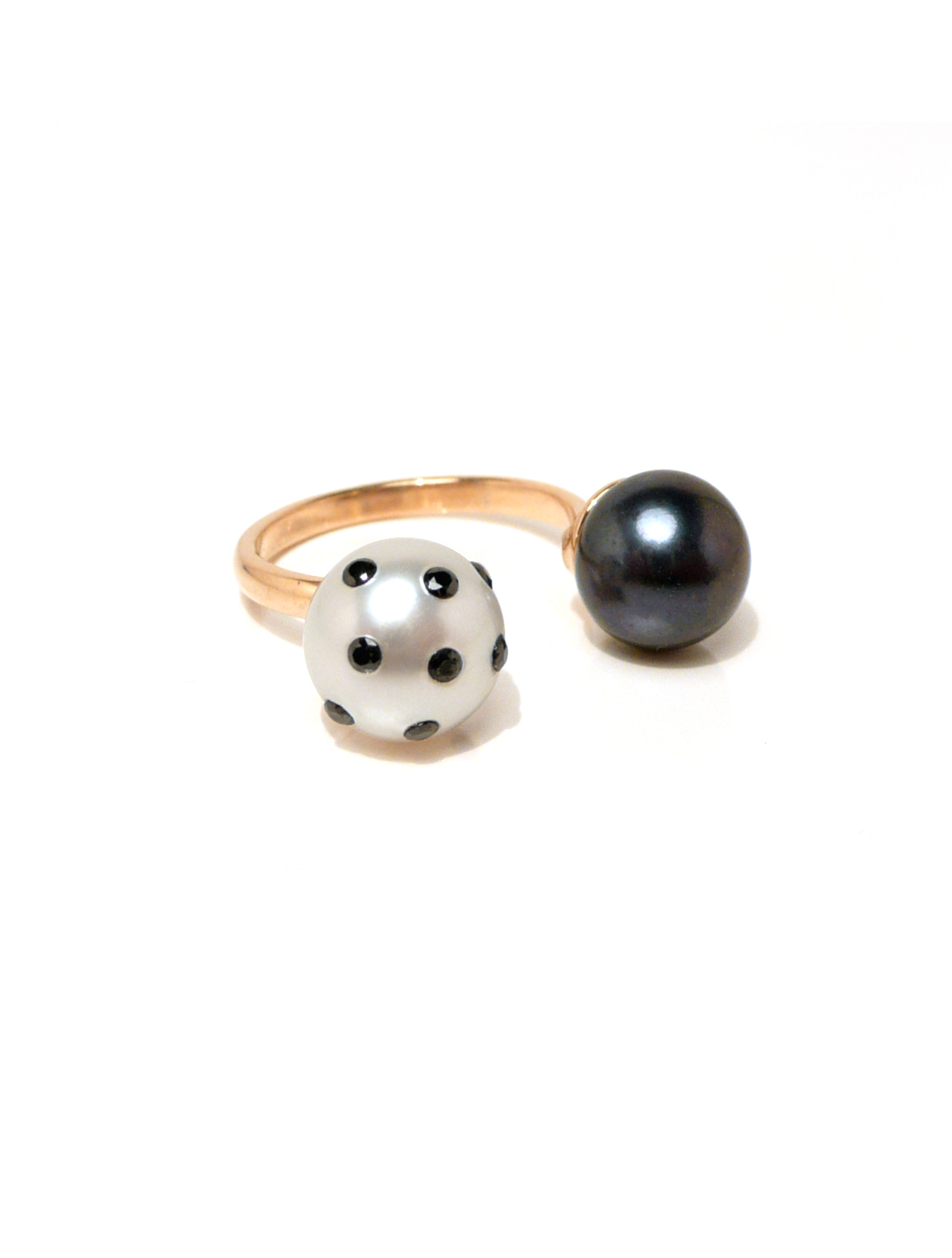 Polka Dot and Peacock Pearl Double Ring