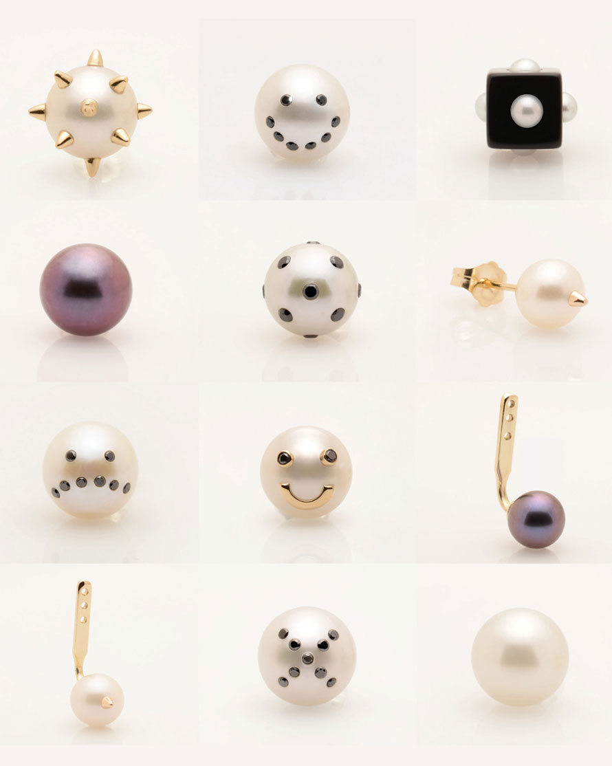 Unique Single Earrings by Jewelry Designer Nektar De Stagni. Mix and Match our New Single Earrings including our most popular Drama, Lady Bug, and Spike Pearl Earrings. Collect them all ! All pieces delicately hand made in the USA with the finest authentic pearls, 14k gold, silver, and diamonds :)