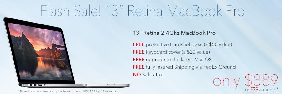 Sweet Retina MacBook Pro Savings! Only $889 Shipped or pay only $79 a month!