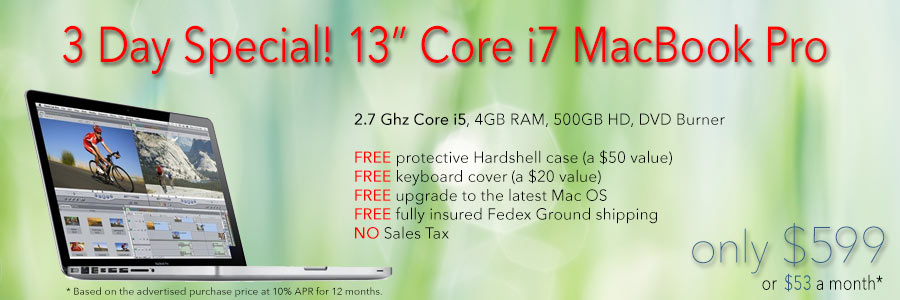 2.7Ghz 13 inch Core i7 MacBook Pro with free case for only $599 shipped! Or pay only $53 a month!