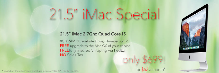 21.5 inch 2.7Ghz iMac for only $699 shipped. Only pay only $62 a month!