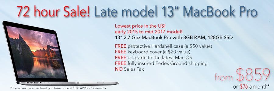 """Late model 13"""" Retina MacBook Pro with case for only $859 with Free Case shipped. Or pay only $76 a month!"""