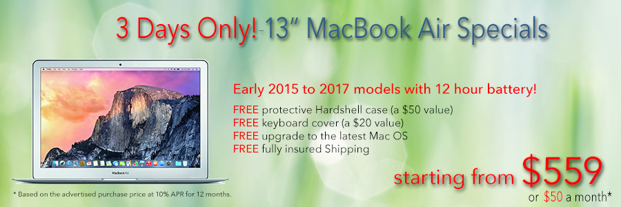 """Late model 13"""" MacBook Airs with free case and shipping start from only $559 or $50 a month!"""