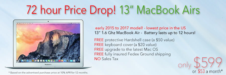 1.6Ghz 13 inch MacBook Air with 12 hour battery and free case for only $599 shipped! Or pay only $53 a month!