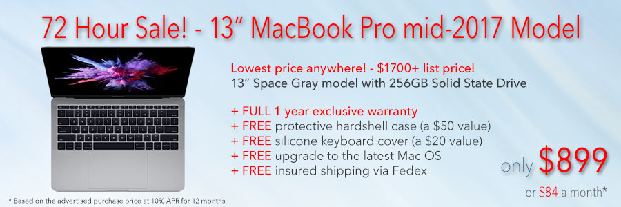 "72 hours Only! 13"" MacBook Pro with 1 year warranty and free case for only $899 shipped! Or pay only $84 a month"