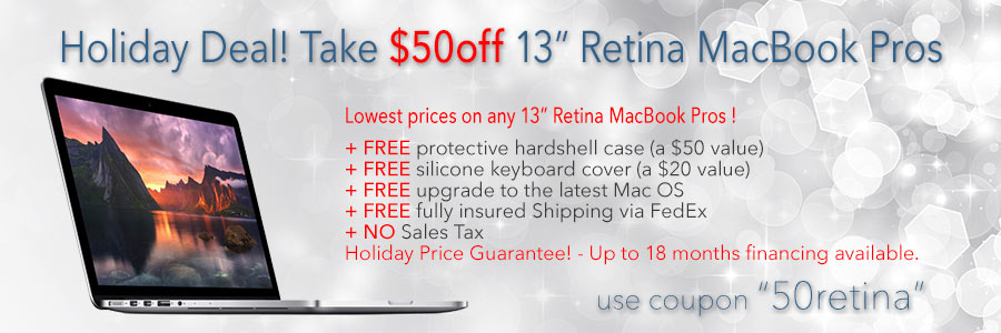 """WOW - Instant $50 discount on any 13"""" Retina MacBook Pro - Financing available"""