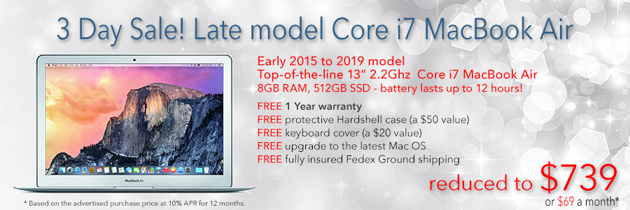 3 days only! Core i7 MacBook Air with 512GB SSD and Free Case for only $739 shipped. Or pay only $69 a month