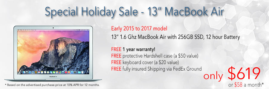 3 days only! Core 13 inch MacBook Air with 256GB SSD and Free Case for only $619 shipped. Or pay only $59 a month