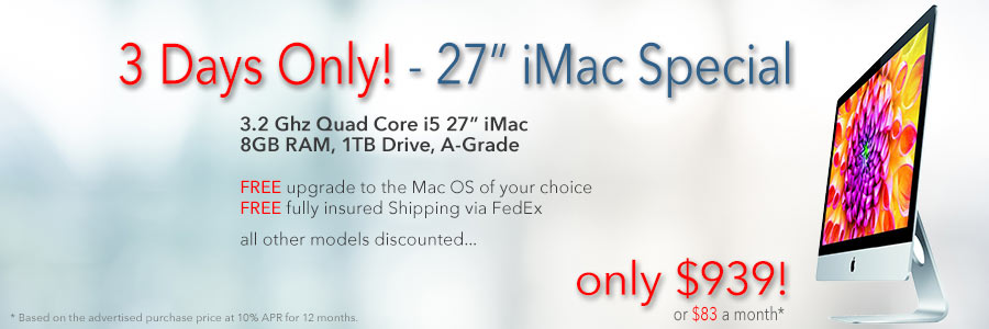 """3.2Ghz 27"""" iMac for only $939 shipped. Or pay only $83 a month!"""