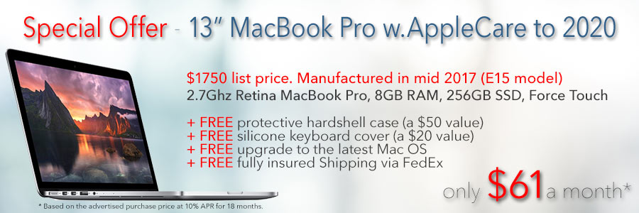 "13"" Macbook Pro with AppleCare to mid-2020 and a free case for only $61 a month shipped!"