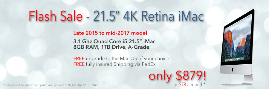 3.1Ghz 4K Retina iMac for only $879 shipped. Or pay only $78 a month!