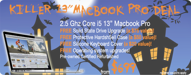 Killer Haloween Deal on 13 inch MacBook Pro. 2.5Ghz Core i5 with a FREE SSD upgrade, FREE hardshell case and keyboard cover plus FREE shipping of ronly $699!
