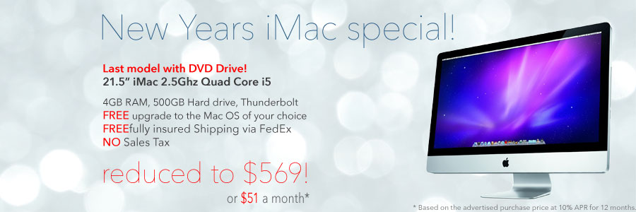 Limited Stock! 2.5Ghz Quad i5 21.5 inch iMac with DVD drive for $579 shipped!