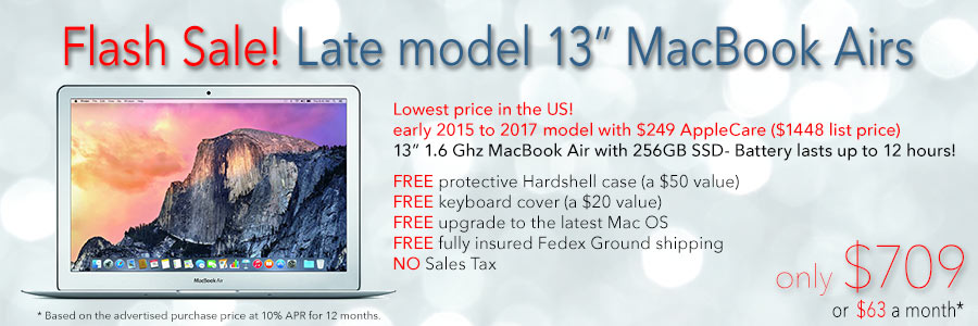 72 hours only! 13 inch MacBook Air with Free case  for only $709 shipped. Or pay only $63 a month!