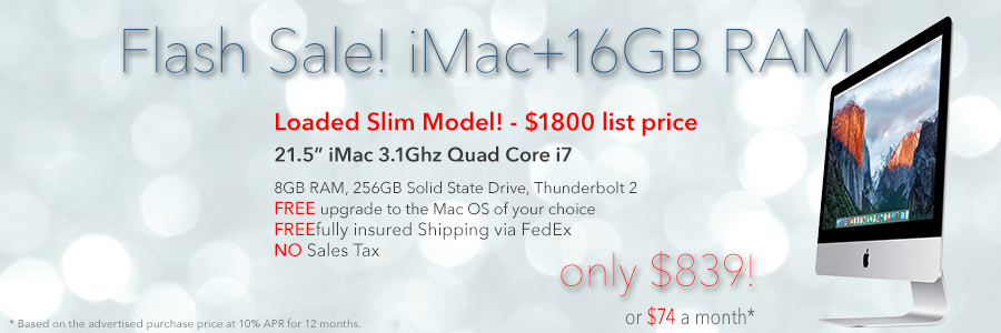 Flash Sale! 2.9Ghz Quad i5 iMac with 16GB RAM for only $839 shipped. Or pay only $74 a month!