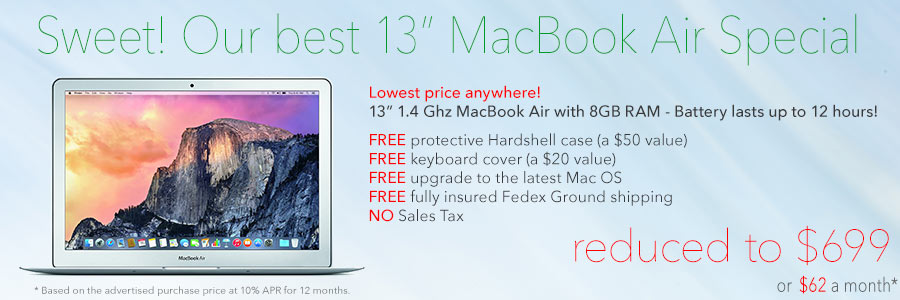13 inch MacBook Air with 8GB & free Case for only $699 shipped! Or only pay $62 a month