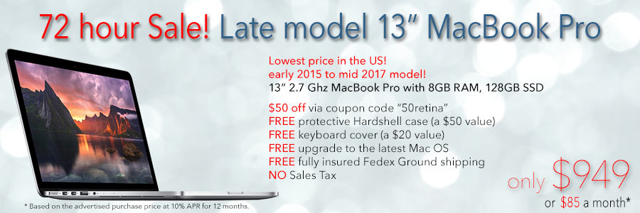 "Late model 13"" Retina MacBook Pro with case for only $949 with Free Case shipped. Or pay only $85 a month!"