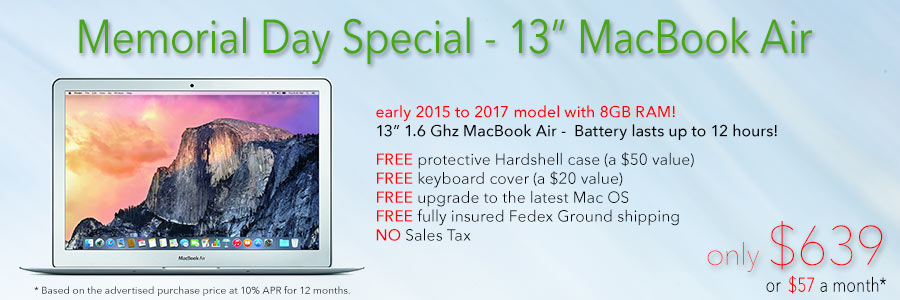 1.6Ghz 13 inch MacBook Air with 8GB RAM and 12 hour battery and free case for only $639 shipped! Or pay only $57 a month!