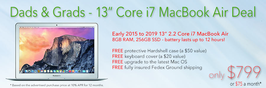 Top of the line Core i7 MacBook Air with free case for only $799 shipped! Or pay only $75