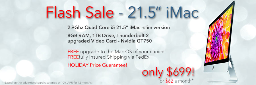 2.9Ghz Quad Core 21.5 inch iMac for only $699 shipped! Or pay only $62 a month