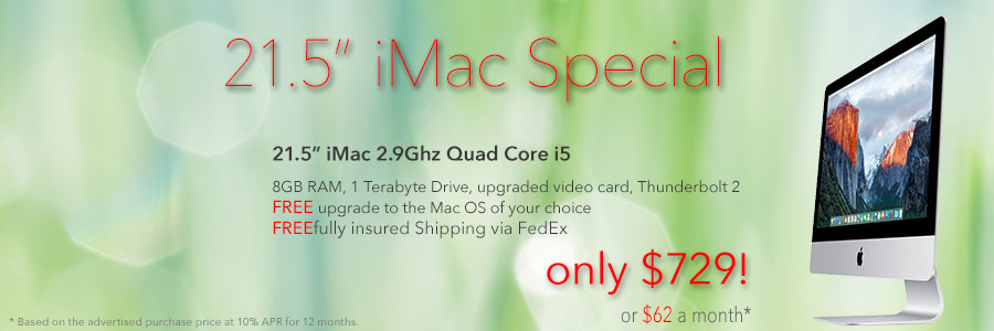 2.9Ghz Quad Core 21.5 inch iMac for only $729 shipped! Or pay only $65 a month