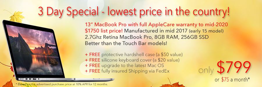 """Late Model 13"""" MacBook Pro with AppleCare to mid-2020 and Free Case for only $799 shipped! Or pay only $75 a month"""
