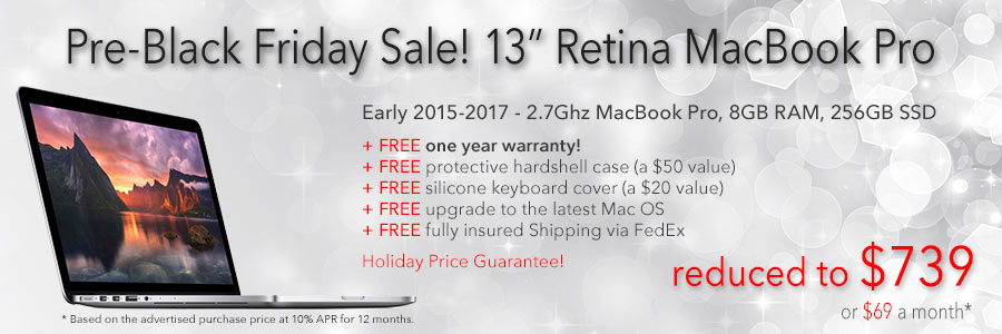 """Late Model 13"""" MacBook Pro Retina with Free Case for only $739 shipped! Or pay only $69 a month"""