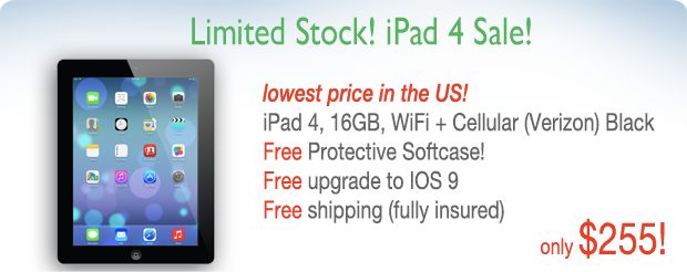 iPad 4 WiFi & Cellular for only $255 shipped! FREE Case