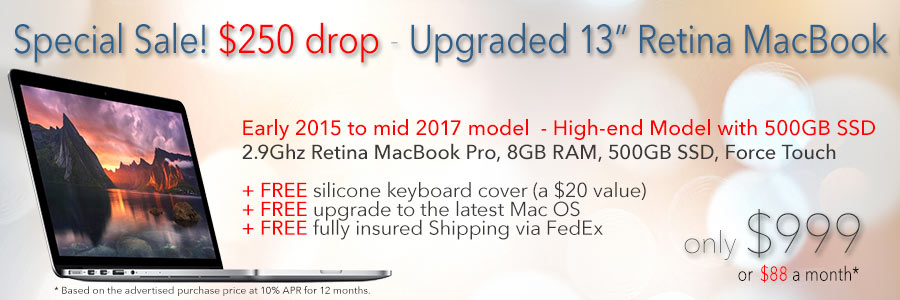 $250 price drop! 2.9Ghz Retina 13 inch MacBook Pro with free case for only $999 shipped! Or pay only $88 a month