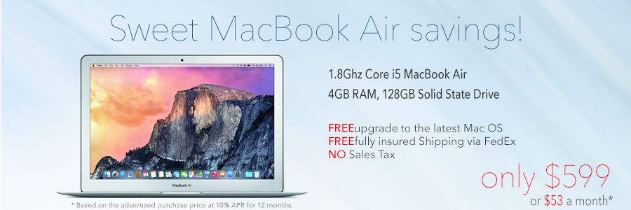 Sweet MacBook Air Savings! Only $599 shipped. Or pay just $53 a month!