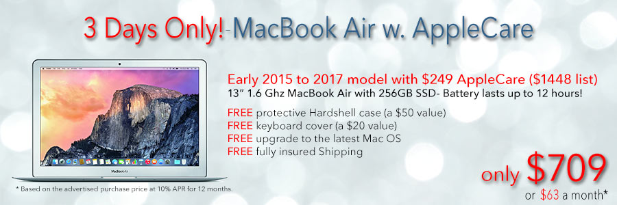 """Late model 13"""" MacBook Air with AppleCare and free case for only $709 shipped. Or pay only $63 a month!"""