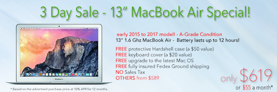 1.6Ghz 13 inch MacBook Air with 12 hour battery and free case for only $619 shipped! Or pay only $55 a month!