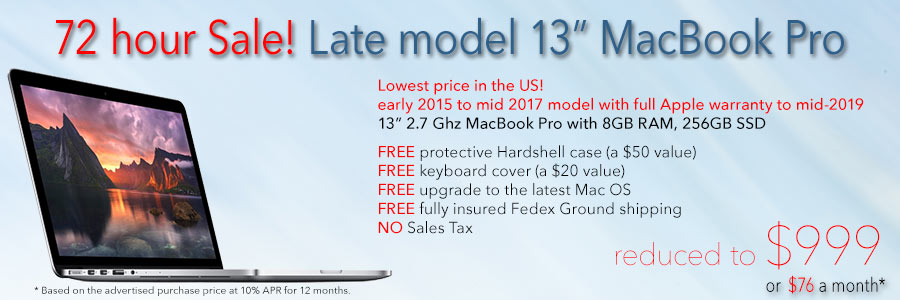 """Late model 2.7Ghz 13"""" Retina MacBook Pro with 256GB SSD, AppleCare warranty and case for only $999 with Free Case shipped. Or pay only $76 a month!"""