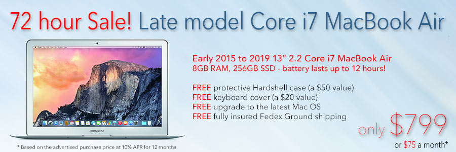 """3 Days Only! Hi-end 13"""" Core i7 MacBook Air with Free Case for only $799 shipped! Or pay only $75 a month"""