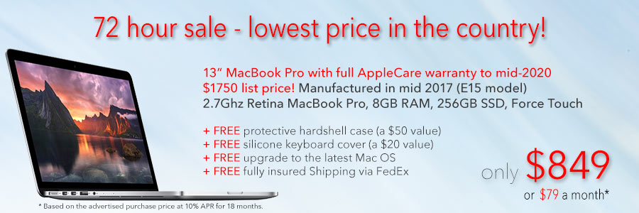 "Late Model 13"" MacBook Pro with AppleCare to mid-2020 and Free Case for only $849 shipped! Or pay only $79 a month"