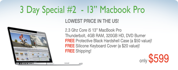 3 Days only! 2.3Ghz Core i5 Special and Free Hardshell Case for only $599 shipped!