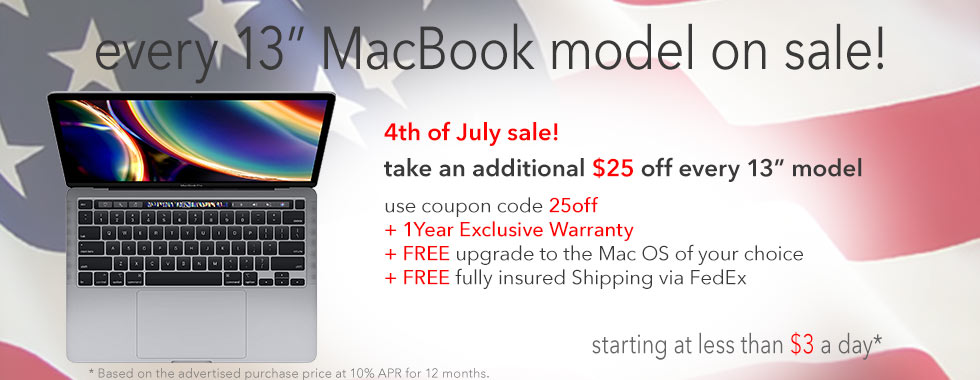 July 4th Sale! Additional $25 off every 13 inch MacBook Pro!